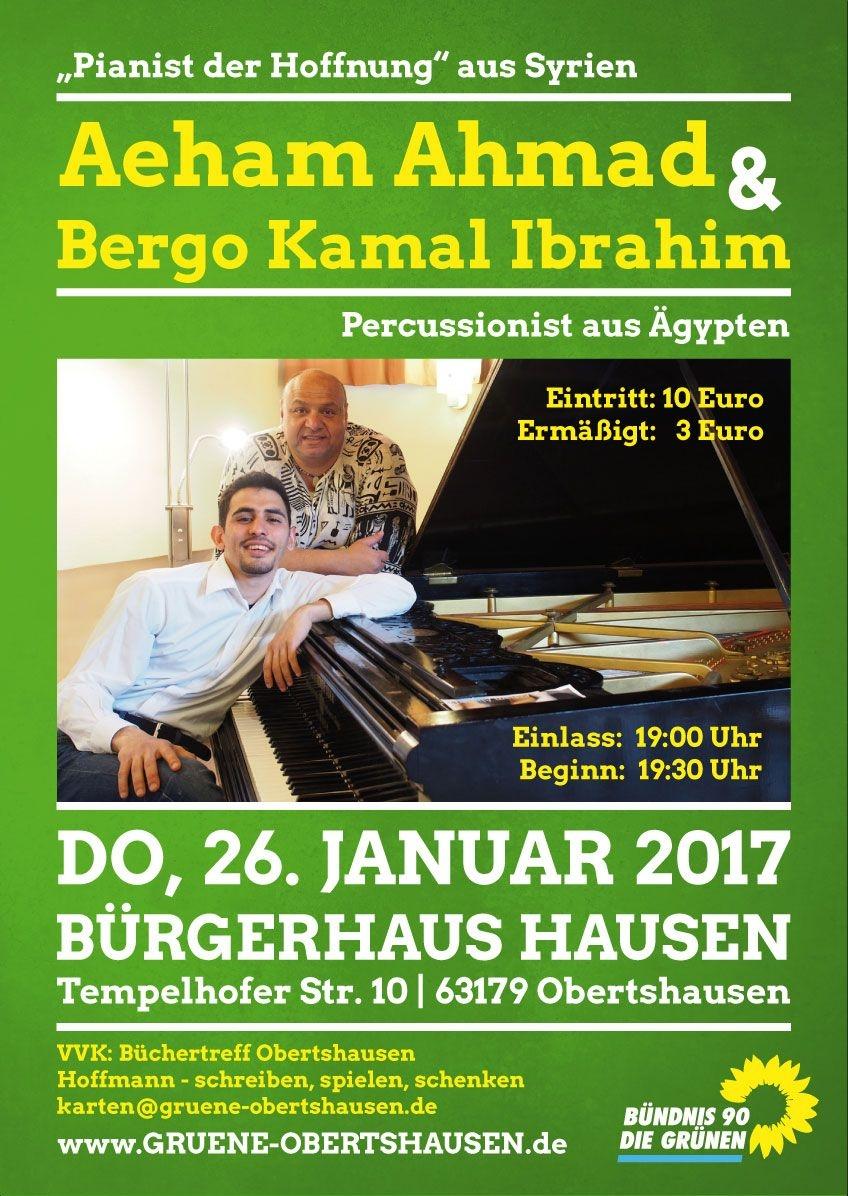 Plakat: Benefizkonzert mit Aeham Ahmad findet am Donnerstag, 26. Januar 2017, um 19.30 Uhr im großen Saal des Bürgerhauses